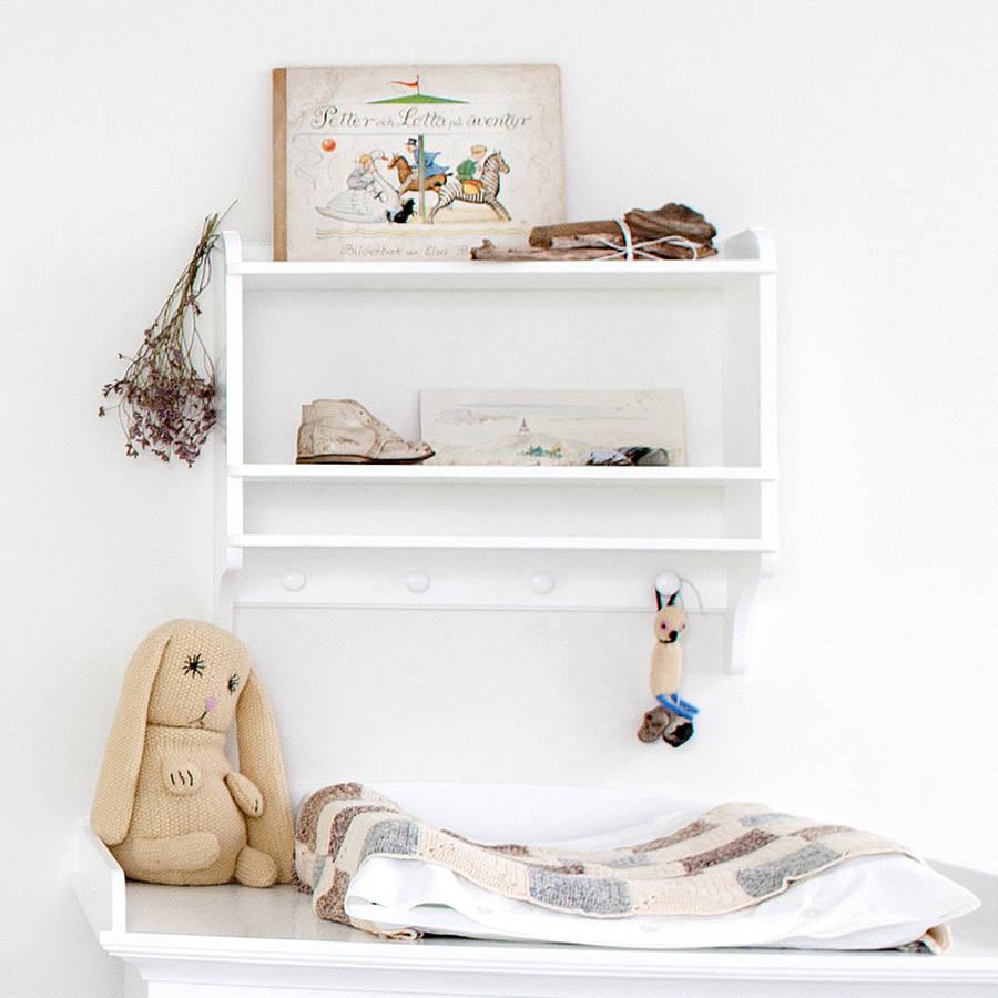 White Wall Mounted Bookshelf With Hooks By Nubie Modern
