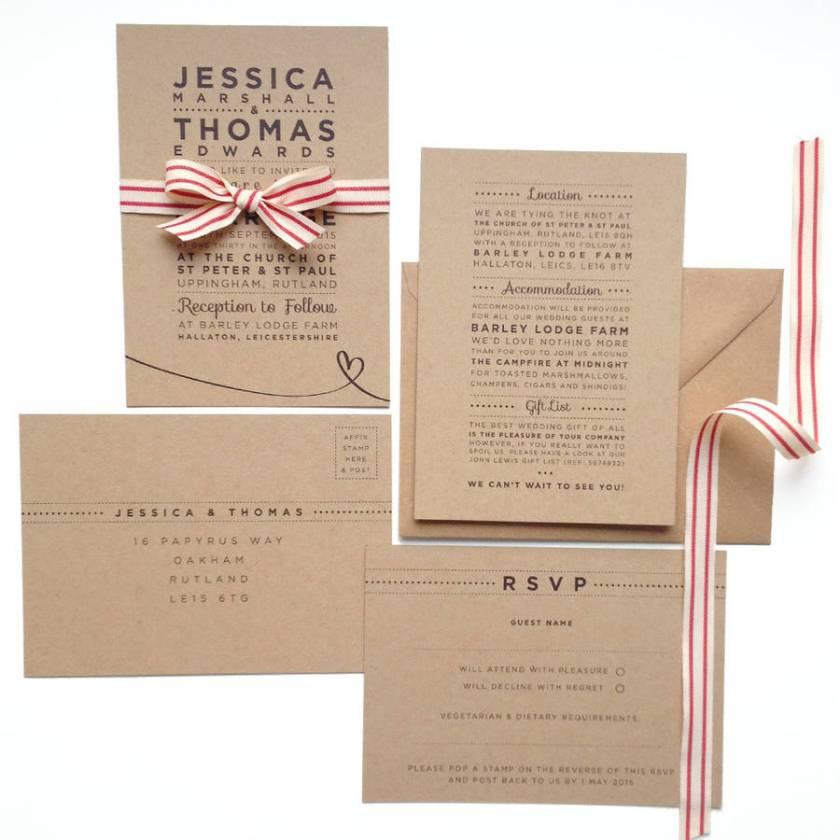Henley Rustic Kraft Wedding Stationery Set By Megan Claire Notonthehighstreet