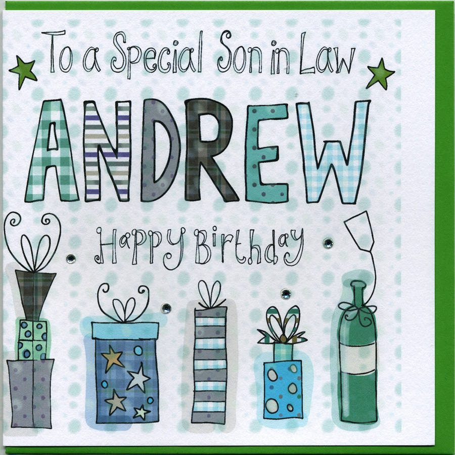 Personalised Son In Law Birthday Card By Claire Sowden Design Notonthehighstreet Com