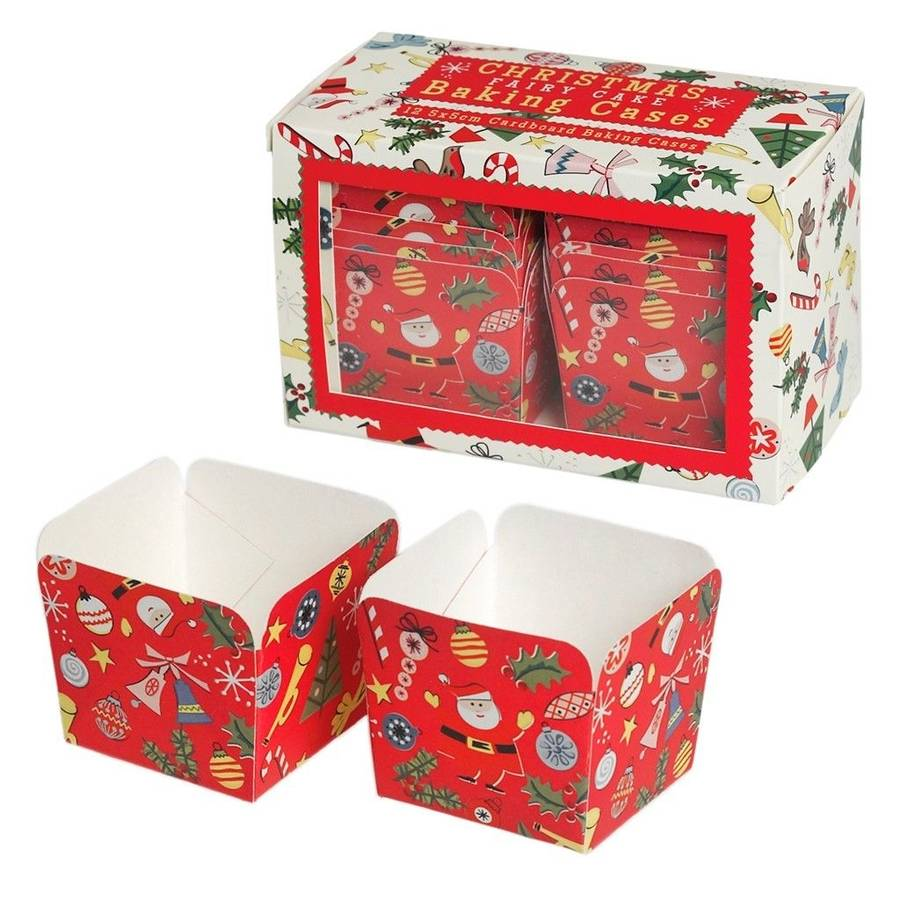 Christmas Mini Cake Card Baking Cases Square By Little