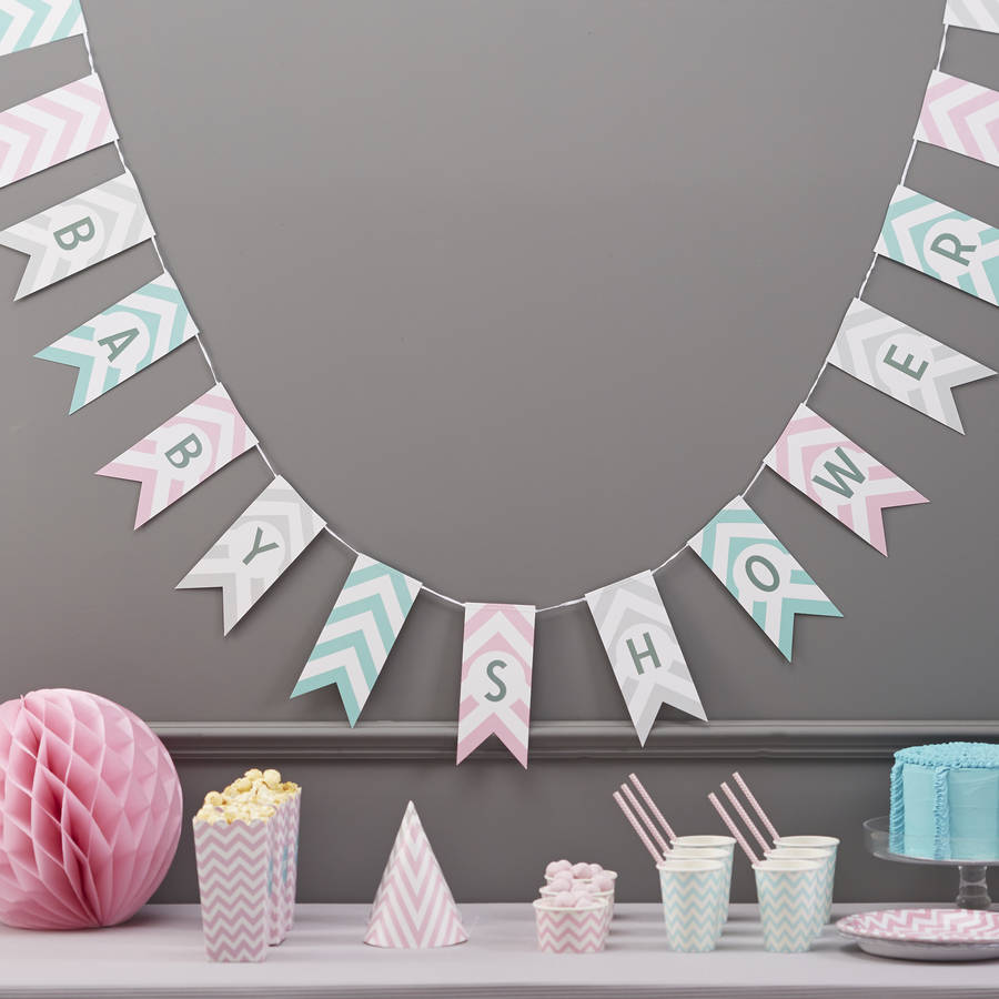 Baby Shower Chevron Bunting Hanging Party Decoration By