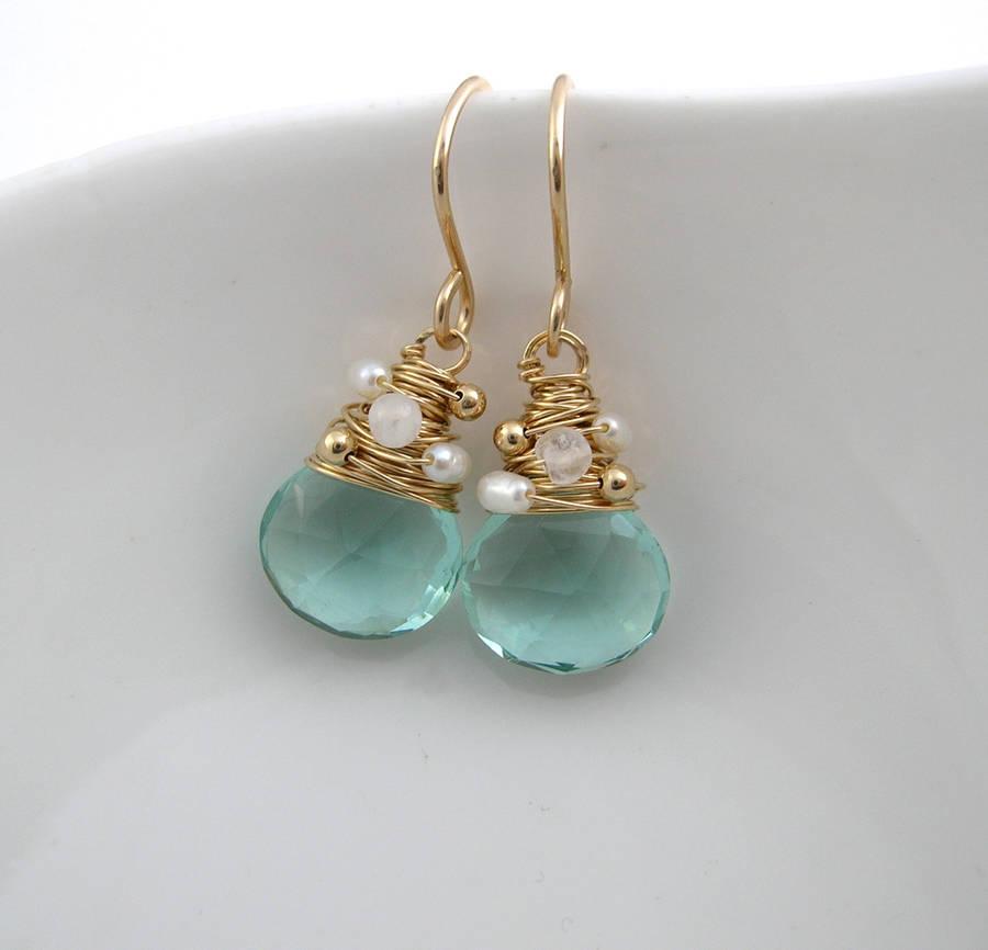 Aquamarine Quartz, Moonstone And Pearl Earrings