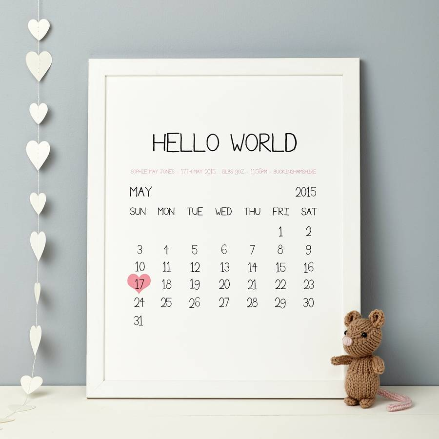 Personalised Baby Birth Date Print By Thispaperbook