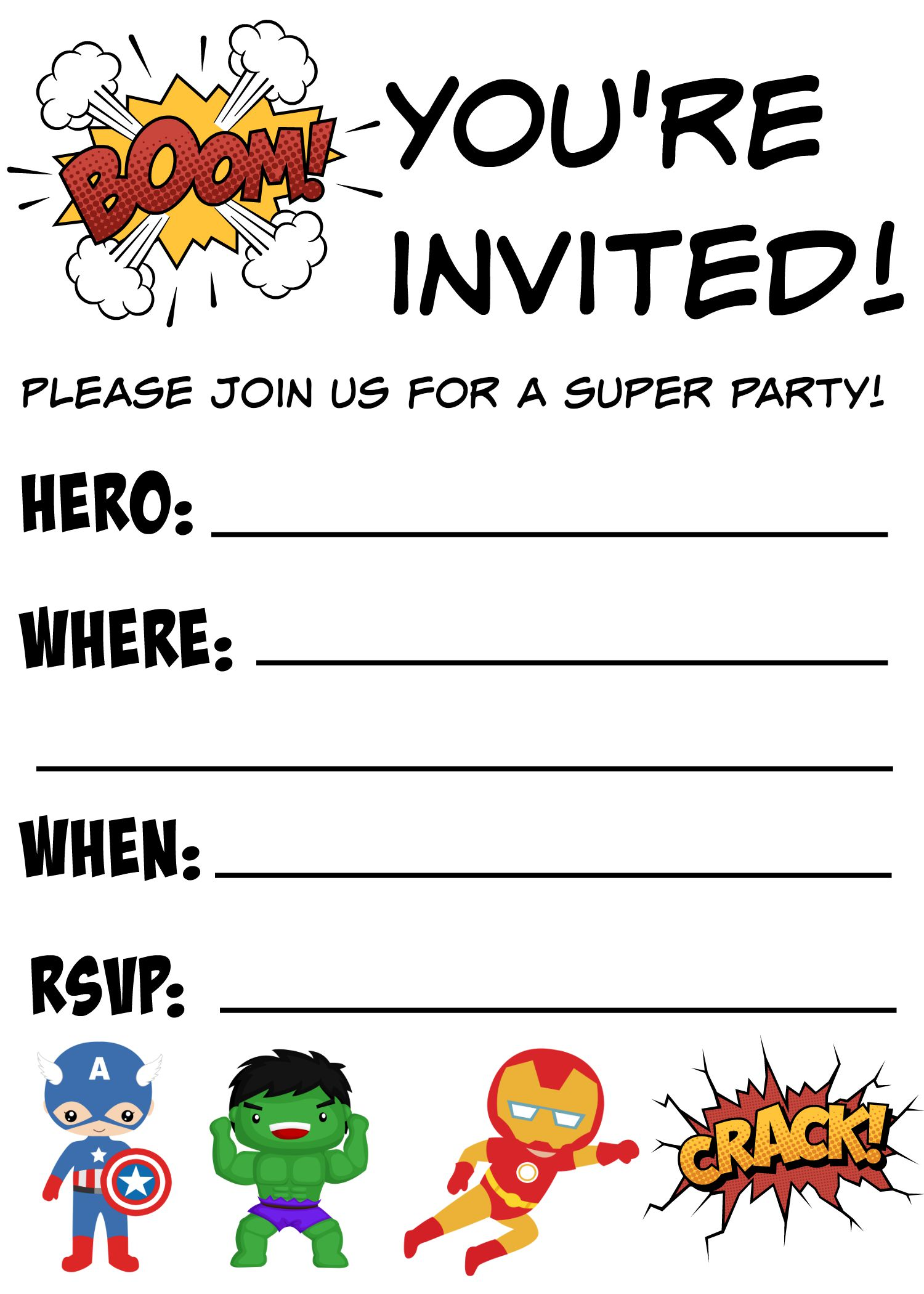 Free Printable Superhero Birthday Invitations