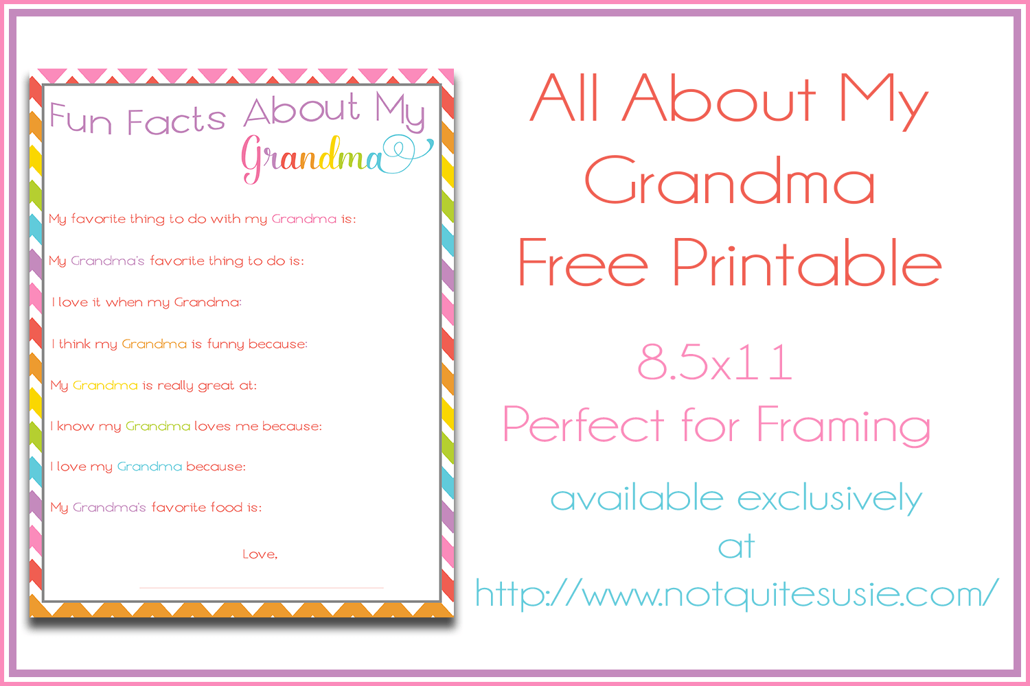 Fun Facts About Grandma Printable For Mother S Day
