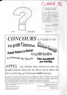 Journal de l'école d'Ars - N° 0