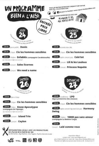 Les Portes-en-Ré - Programme Festibal - août 2017