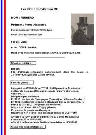 Ars-en-Ré - 14-18 - Fiche Pierre Ferrero