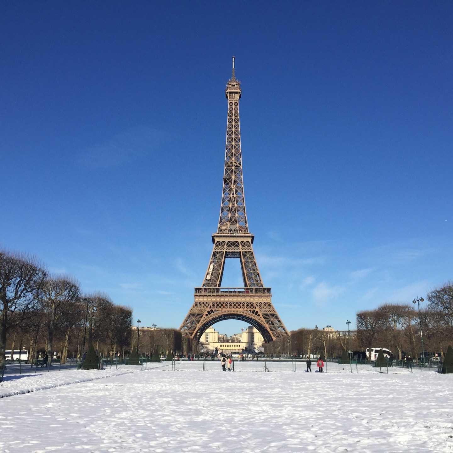 Champs de Mars and Eiffel Tower covered in snow