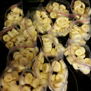 Freeze sliced bananas for smoothies!