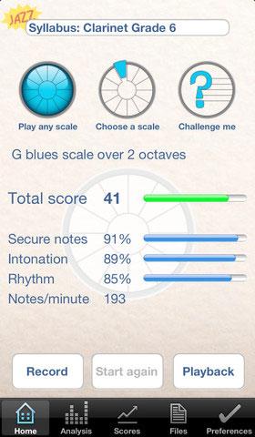 Jazz ScaleHelper Analysis screen
