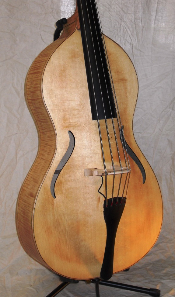 Toby Chennell Arco Acoustic Bass Guitar - body/bridge view 2