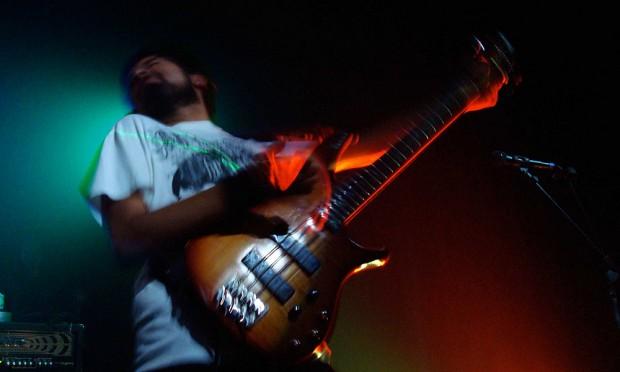 Bass player feeling it