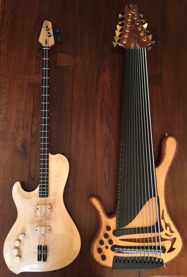 Yves Carbonne's 2 and 12 string basses
