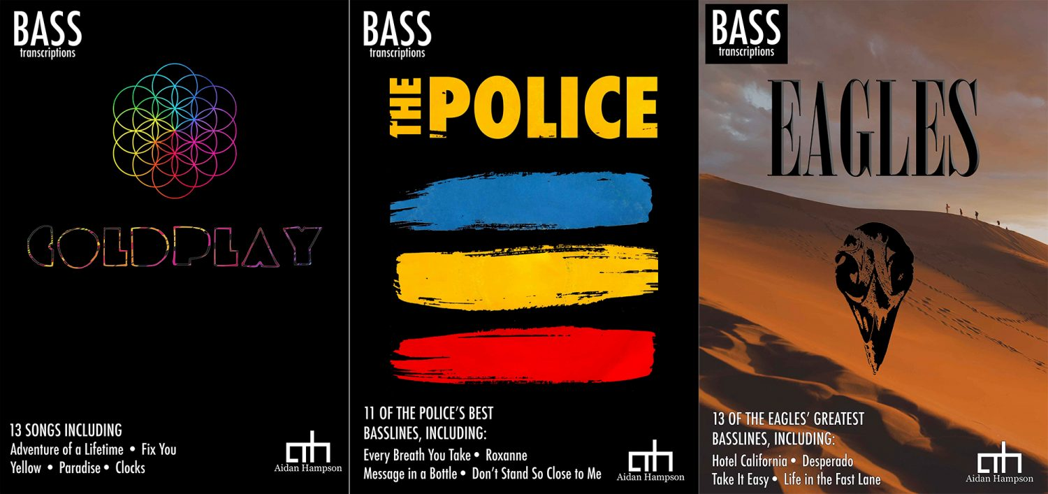Aidan Hampson: Best of Coldplay, The Police, and The Eagles Bass Transcription Books