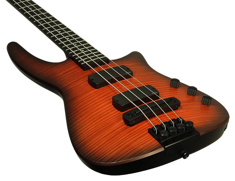 NS Design NXTa Radius Bass Guitar NXT4a-BG-SB 3Q Body Horn Side