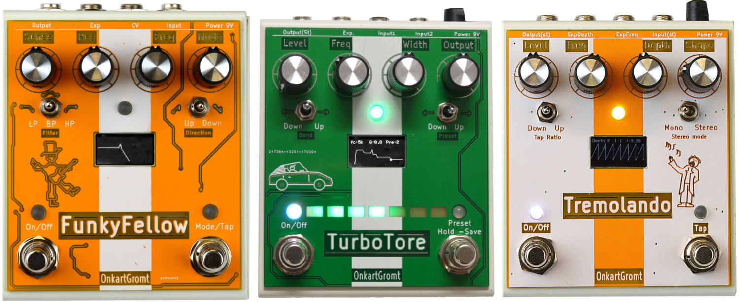 OnkartGromt FunkyFellow, TurboTore, and Tremolando Bass Pedals