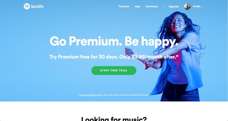 Spotify splash page