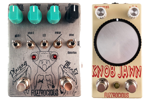 Fuzzrocious Playing Mantis and Knob Jawn Pedals