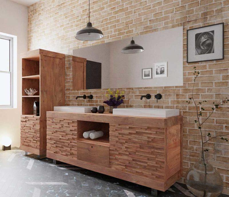bois massif pour la salle de bains
