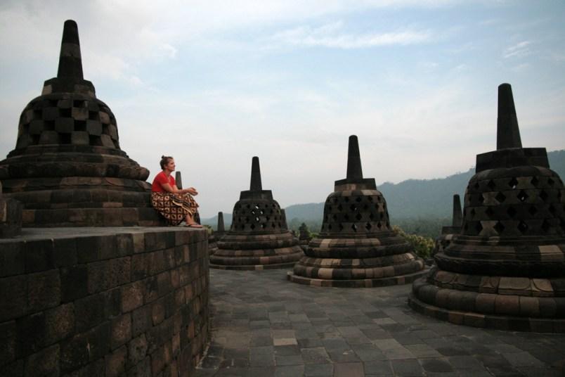 Choupi à Borobudur