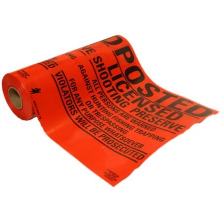 Roll of Custom Orange Vinyl Posted Licensed Shooting Preserve Signs