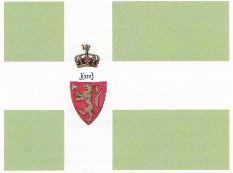 Jan Rasmussen Sandnes forslag til norsk flagg slik vi antar det kan ha sett ut. (Tegning: Svein Hermansen)