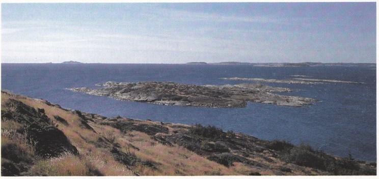Hellesholmen i bakgrunnen fotografert fra Skjellerøy. Christofer og Jøran rodde over sundet med en pram i overhendig vær.