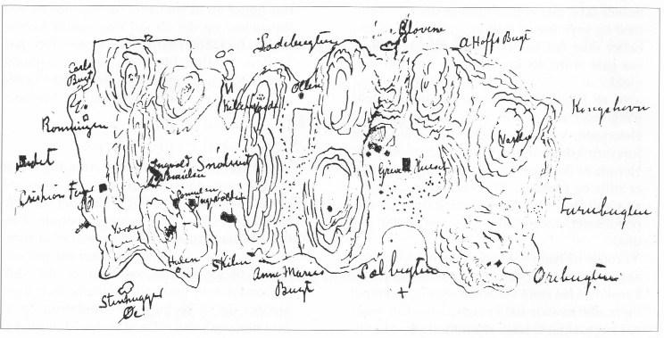 Håndtegnet kart som viser bebyggelse og lokale navn på Mellom Bolæren rundt 1900.