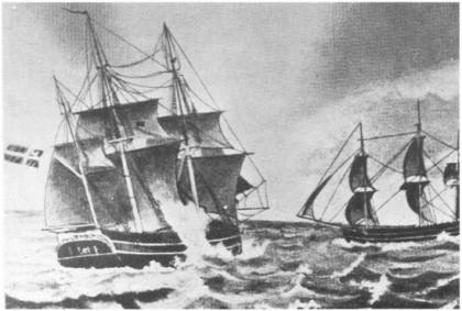 «Providentia Arnt», 86 lester, bygget i Årøsund i 1802, var en av de skutene Jan Rasmussen Sande før¬te. Merk at skuta er gjengitt som vanlig var fra to vinkler. Det er forøvrig denne skuta som også er gjengitt på forsiden av L. Bergs bygdebok - og Nøtterøy Historielags opptrykk.