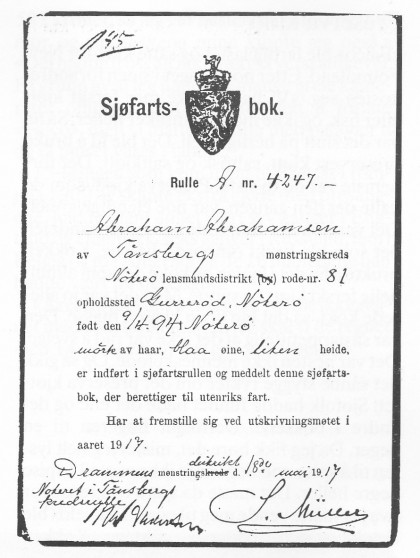Første side i Abrahamsens sjøfartsbok.