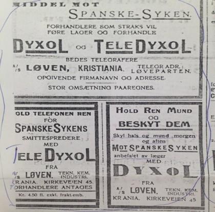 Reklame fra Sandefjords blad 23/10-1918