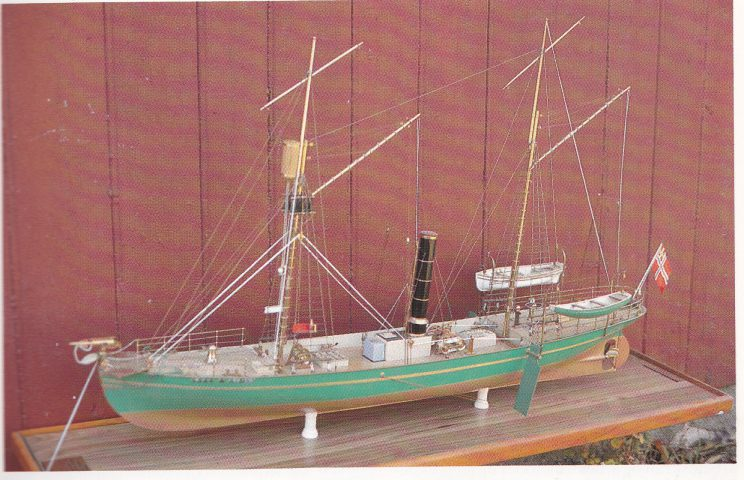 Modell av verdens første moderne hvalbåt «Spes &Fides» (Håp og tro).
