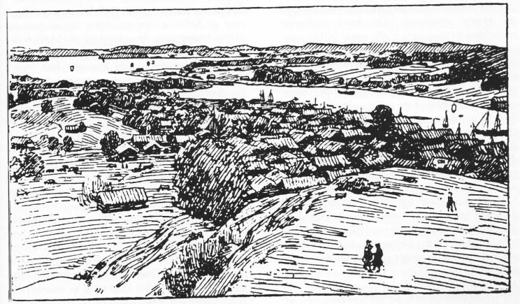 Tønsberg på Olav den helliges tid sett fra Slottsfjellet. Merk bebyggelsen på Nøtterøy-siden og båtene på Træla i bakgrunnen.