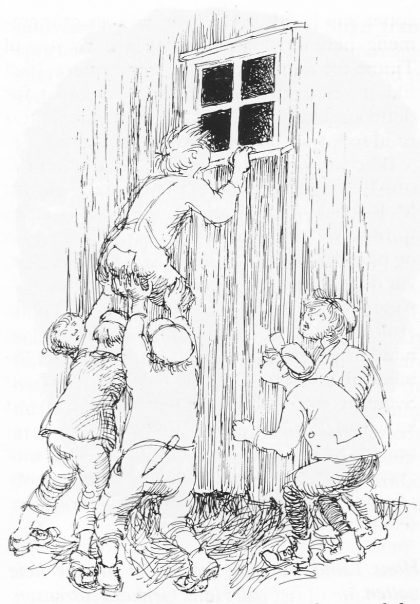 «Det sitter et troll der inne», roper Strengsdals-gutten. Ill. Hans Gerhard Sørensen.