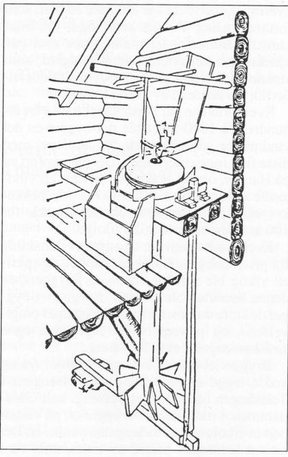 Prinsippskisse av en kvernkall, maken til de som må ha stått i bekkene på Nøtterøy fra middelalderen frem til ca. 1900.