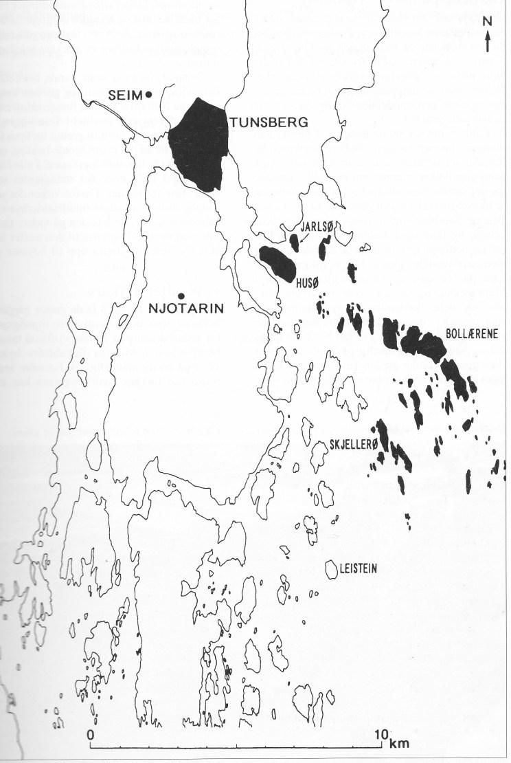 Fig.2: Områdene avmerket med svart viser hvor stor gården Tunsberg kan ha vært før vikingtida og før middelalderbyen Tunsberg ble anlagt.