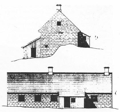 Kochs tegning av fyrinspektørboligen i gråstein. Langsiden sett fra øst vender mot fyret. Kortsiden er tegnet fra syd. (Riksarkivet).