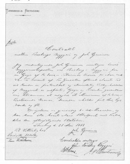 Gmeiners ansettelseskontrakt med Tønsberg Bryggeri fra 1888.