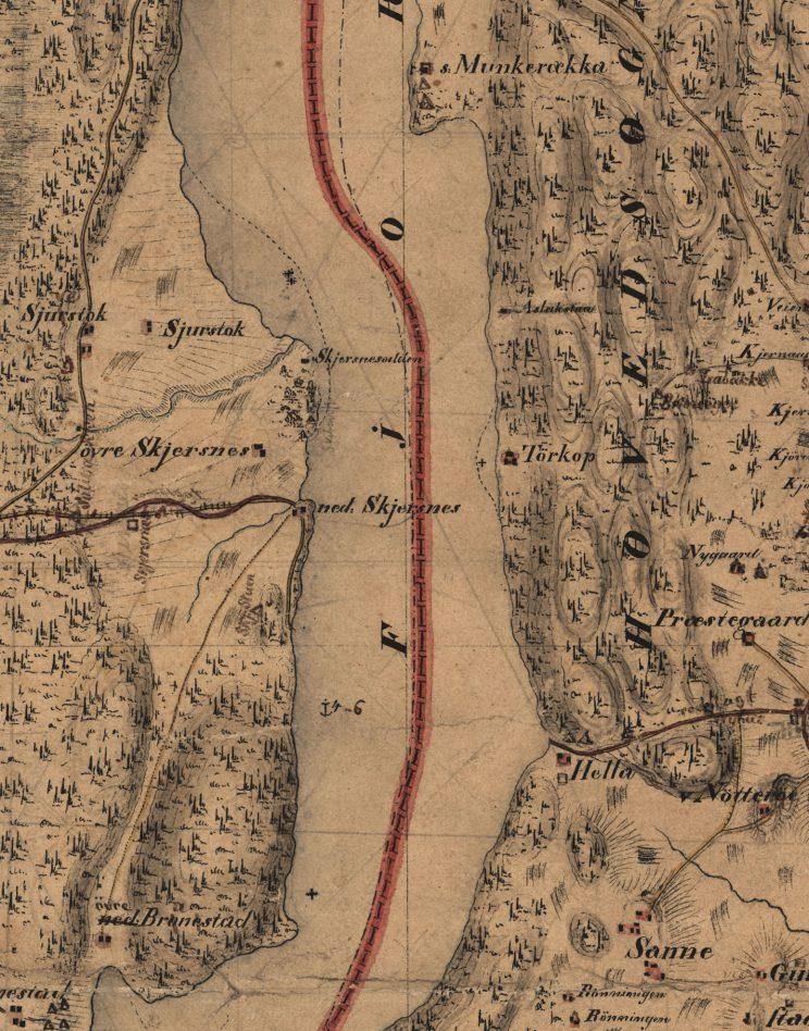 Utsnitt av kart fra 1825 som viser veien fra Nøtterøy kirke til fergestedet i Hella («Gamle Hellavei»)