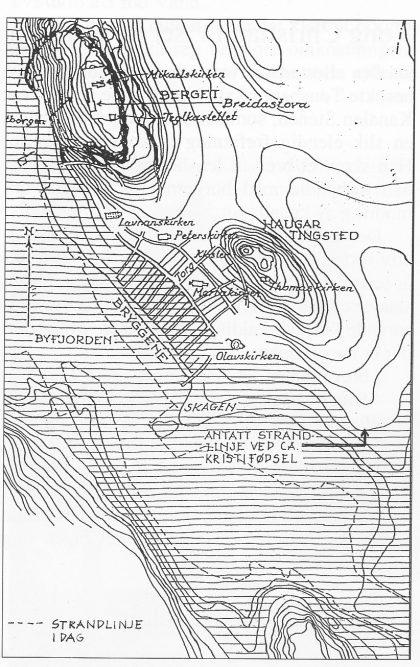 Sundet ved Skeljasteinen omkring Kristi fødsel. Havet sto da 8 meter høyere enn i dag. Tegning: Vera Hansen.