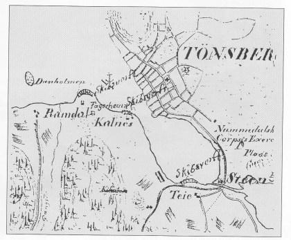 Utsnitt av kart fra 1827 (Ltn. Heyerdahl).