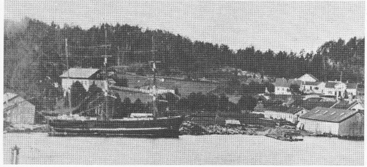 Revodden i 1890 med Svend Foyns bolig Ramdal i bakgrunnen. Foto: Jarlsø fabrikker A/S - 50-årsberetning.