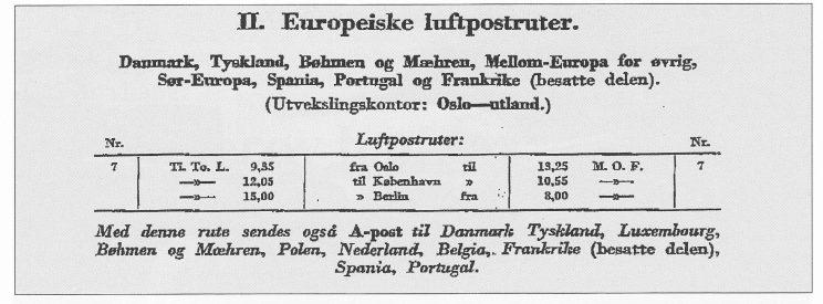 Oversikt over tyskkontrollerte postruter i 1943. Som man vil se gikk post sydover fra Oslo til København og Berlin på tirsdager, torsdager og lørdager, motsatt vei de andre virkedagene. Siden 23. februar 1943 var en tirsdag, må flyet ha vært på sørgående.