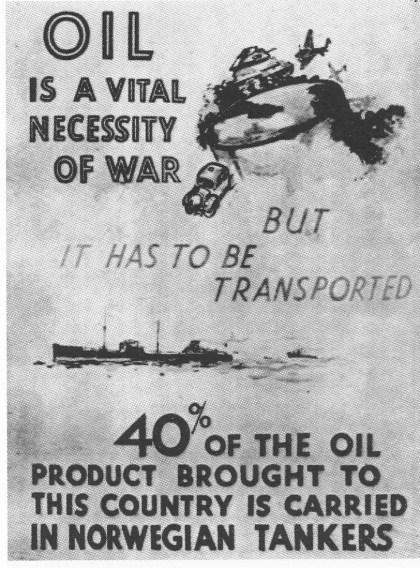 En plakat fra en utstilling i London under krigen viser hvor vital oljetransporten på norske skip var.