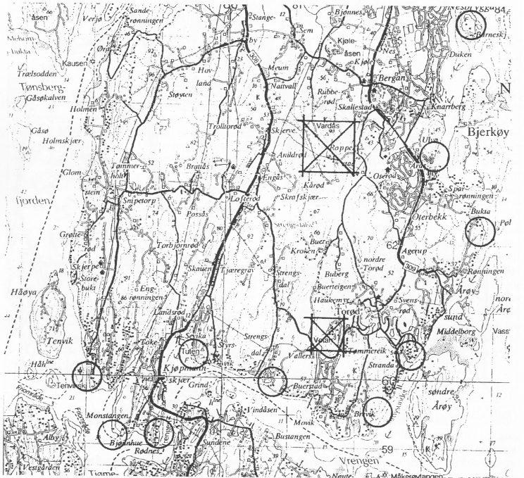 Mitraljøsestillinger var plassert slik langs Nøtterøy-kysten av tyskerne. Kan ses i dag. (Th. Holm, april 1995)