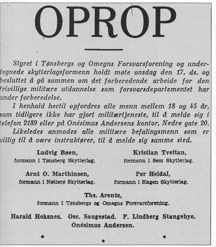 Faksimile av OPROP i Tønsbergs Blad 18. januar 1940