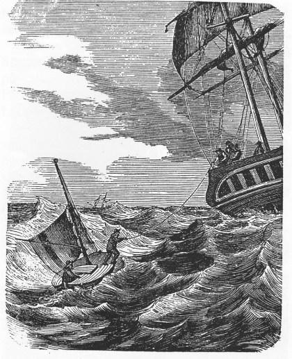"""Tør ikke skjære inn under le låring, da sjøen er for høy. Losen må derfor jumpe i sjøen og hales over i en ende. (Fra Eilert Sundts artikkel """"Lods-skøyten"""" i Folkevennen 1864)."""