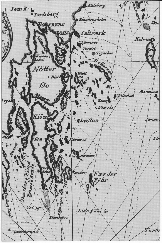 Kart over farvannene rundt Nøtterøy og Tjøme fra begynnelsen av 1700-tallet.