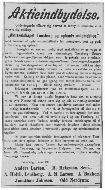 "Faksimile av ""Aktieindbydelse"" - ""Tønsbergs Blad 10. juni 1910"